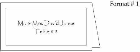 place card format